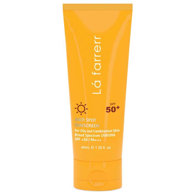کرم ضد آفتاب و ضد لک بی رنگ مخصوص پوست چرب و مستعد آکنه SPF 50 لافارر